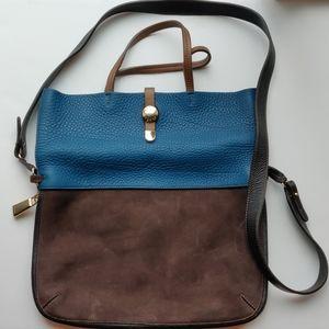 Furla blue/brown suede leather expandable purse